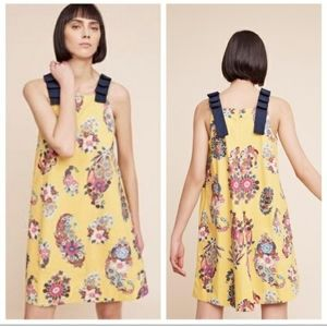 Anthropologie   Sunnive Yellow Floral Dress Large
